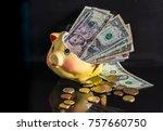 broken piggybank  concept time... | Shutterstock . vector #757660750