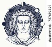 buddha face tattoo art. sacred... | Shutterstock .eps vector #757691824