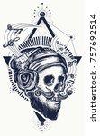 human skull sacred geometry... | Shutterstock .eps vector #757692514
