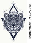 bear sacred geometry tattoo and ... | Shutterstock .eps vector #757692640