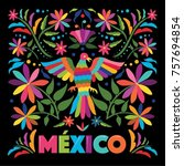 colorful mexican traditional... | Shutterstock .eps vector #757694854
