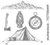 camping tent  compass  axe ... | Shutterstock .eps vector #757700449