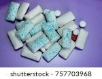 chewing gum on colorful... | Shutterstock . vector #757703968