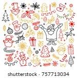 big set of christmas design... | Shutterstock .eps vector #757713034