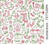 christmas decoration doodle... | Shutterstock .eps vector #757713094