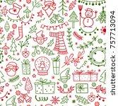 christmas decoration doodle... | Shutterstock .eps vector #757713094