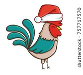 cute and funny rooster wearing... | Shutterstock .eps vector #757717570