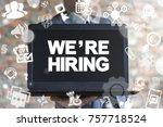 businessman using virtual... | Shutterstock . vector #757718524