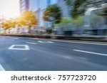 blurred empty urban road and... | Shutterstock . vector #757723720