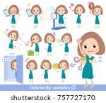 bob hair green dress women... | Shutterstock .eps vector #757727170