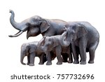Carved Wooden Elephant Isolate...