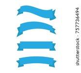 flat vector ribbons banners... | Shutterstock .eps vector #757736494