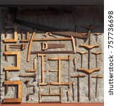 Small photo of Saws and other ancient woodworking tools, used time ago in the carpentry