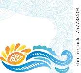 sea and sun. vector... | Shutterstock .eps vector #757738504