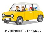family riding the car  winter... | Shutterstock .eps vector #757742170