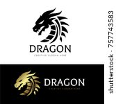 Stock vector dragon logo template 757743583