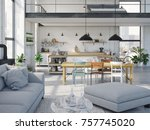 3d rendering. loft apartment...   Shutterstock . vector #757745020