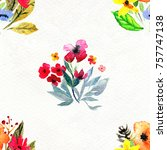 floral watercolor seamless... | Shutterstock . vector #757747138
