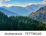 stunning view of mountain peaks ... | Shutterstock . vector #757758160
