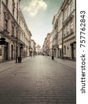 florian street in historic city ... | Shutterstock . vector #757762843