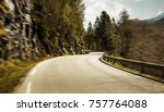mountain road at high speed... | Shutterstock . vector #757764088