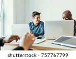 multiracial business people... | Shutterstock . vector #757767799