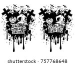 vector black and white... | Shutterstock .eps vector #757768648
