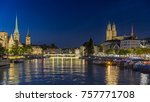 view of historic zurich city... | Shutterstock . vector #757771708
