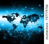 world map on a technological...   Shutterstock . vector #757779706