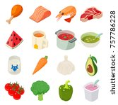 food icons set. isometric... | Shutterstock .eps vector #757786228