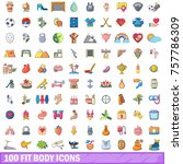 100 fit body icons set. cartoon ... | Shutterstock .eps vector #757786309