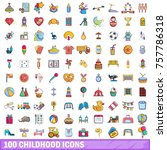 100 childhood icons set