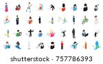 people icon set. isometric set... | Shutterstock .eps vector #757786393