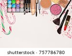christmas and new year makeup.... | Shutterstock . vector #757786780