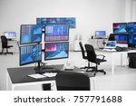 monitors with stock data on... | Shutterstock . vector #757791688
