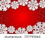 bright winter red paper cut out ... | Shutterstock .eps vector #757792063