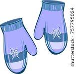 knitted wool mittens . seasonal ... | Shutterstock .eps vector #757795024