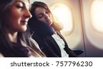 girlfriends traveling by plane. ... | Shutterstock . vector #757796230