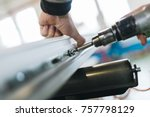 manual worker assembling pvc... | Shutterstock . vector #757798129