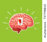 brain power switch  turned on... | Shutterstock .eps vector #757798810