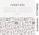 furniture concept with thin... | Shutterstock .eps vector #757798858