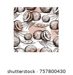 seamless pattern with coconut.... | Shutterstock .eps vector #757800430