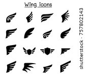 wing icon set vector... | Shutterstock .eps vector #757802143