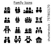 family   people icon set vector ... | Shutterstock .eps vector #757802170