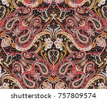 traditional indian paisley... | Shutterstock . vector #757809574