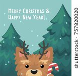 new year icon yorkshire terrier ... | Shutterstock .eps vector #757820020