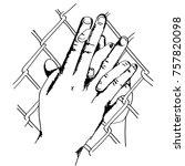 line art sketch couple holding... | Shutterstock .eps vector #757820098
