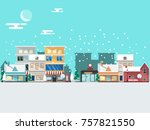 winter landscape and snowy... | Shutterstock .eps vector #757821550