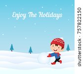 happy kid making snowball at... | Shutterstock .eps vector #757822150