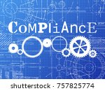 compliance sign and gear wheels ... | Shutterstock .eps vector #757825774